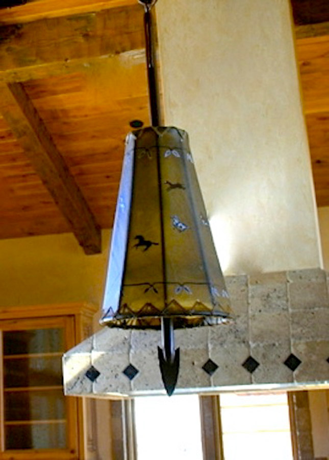 Arrow Pendant Light with Painting