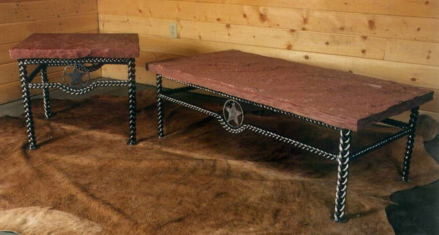 Braided Coffee Table with rock top