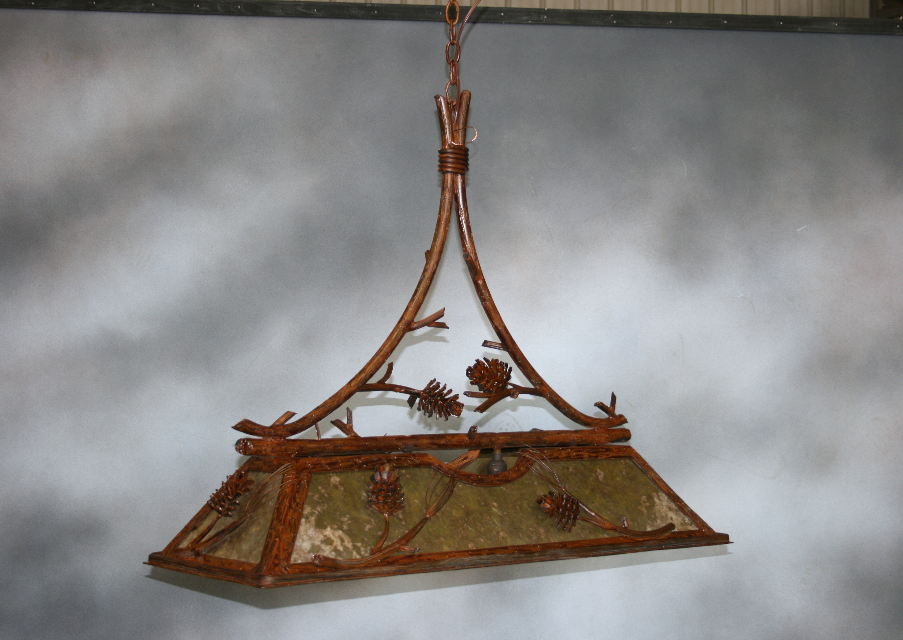 Pine Cone Pool Table Light Frontier Iron Works