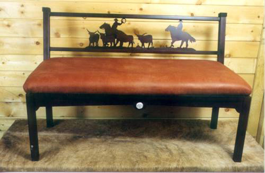 Cowboy Bench With Leather Back 7