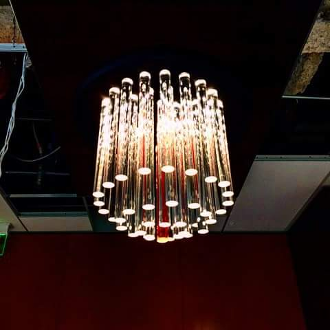 During Installation Contemporary Led Chandelier By Frontier Ironworks Inc Custom Made For Usc Greif Center