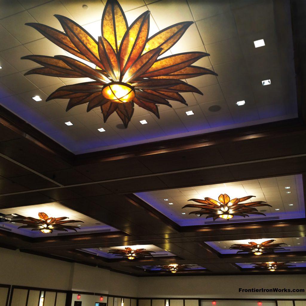 Frontier Iron Works Inc University Of Wyoming Gaterway Ballroom Brown Eyed Susan Ceiling Lights Www Frontierironworks Com