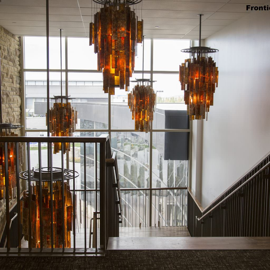 Frontier Iron Works Legacy Chandeliers At Univ Of Wyoming Gateway Center Laramie Iron And Mica Chandelier Ul Approved Www Frontierironworks Com