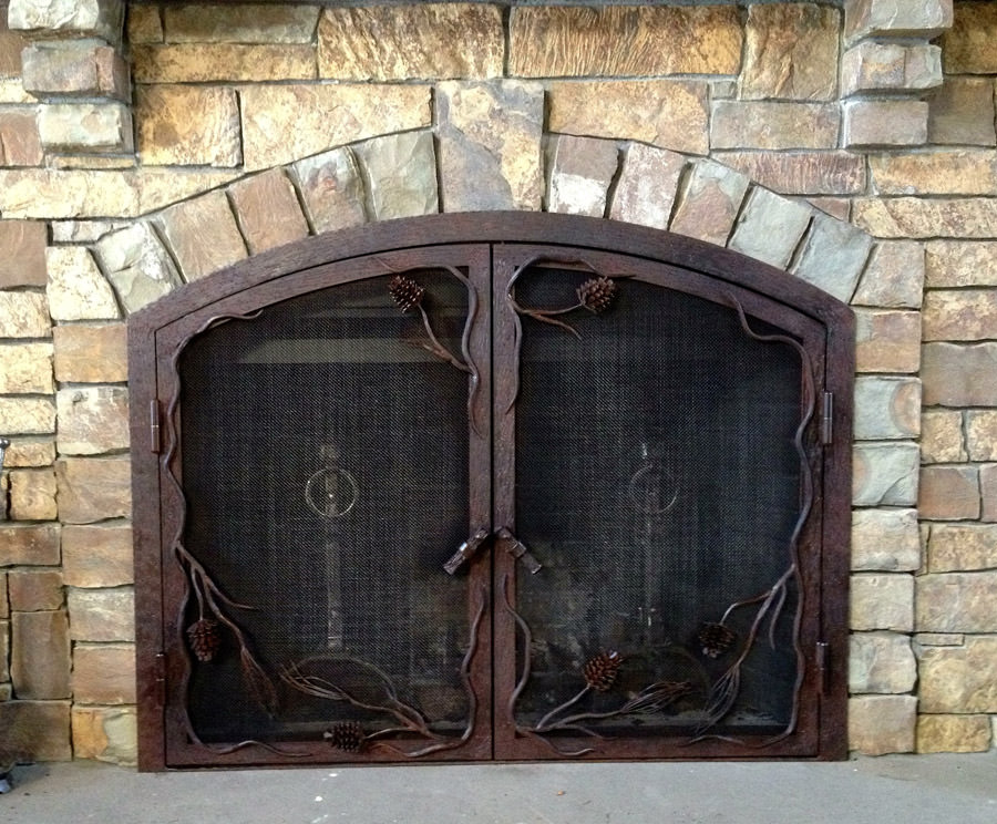 Pine Cone Fireplace Screen Frontier Iron Works