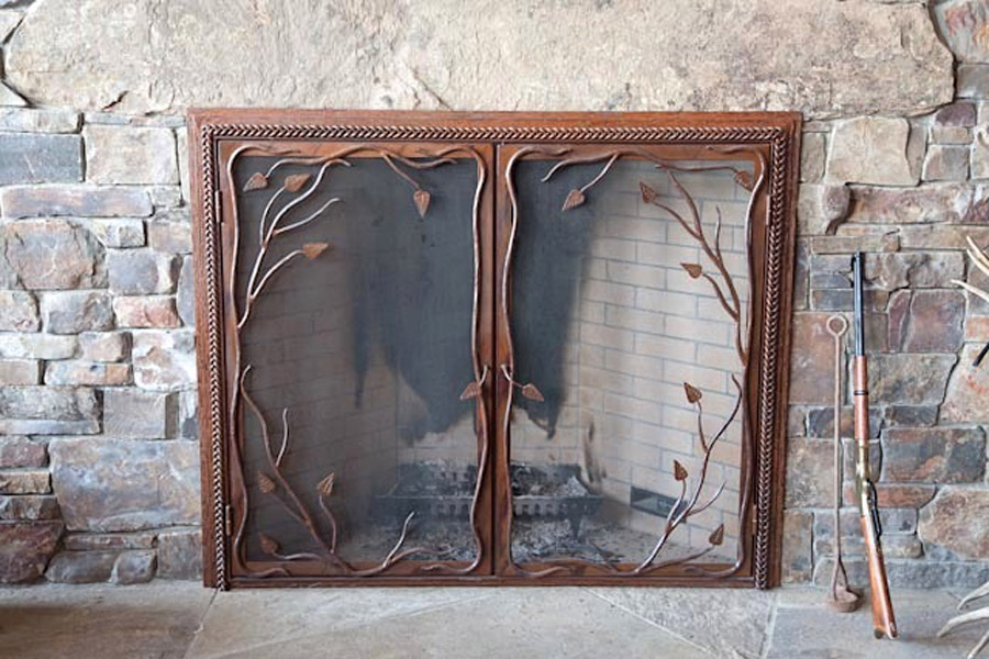 Twig And Leaf Fireplace Screen