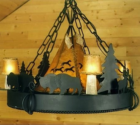 Buffalo Hunt Chandelier