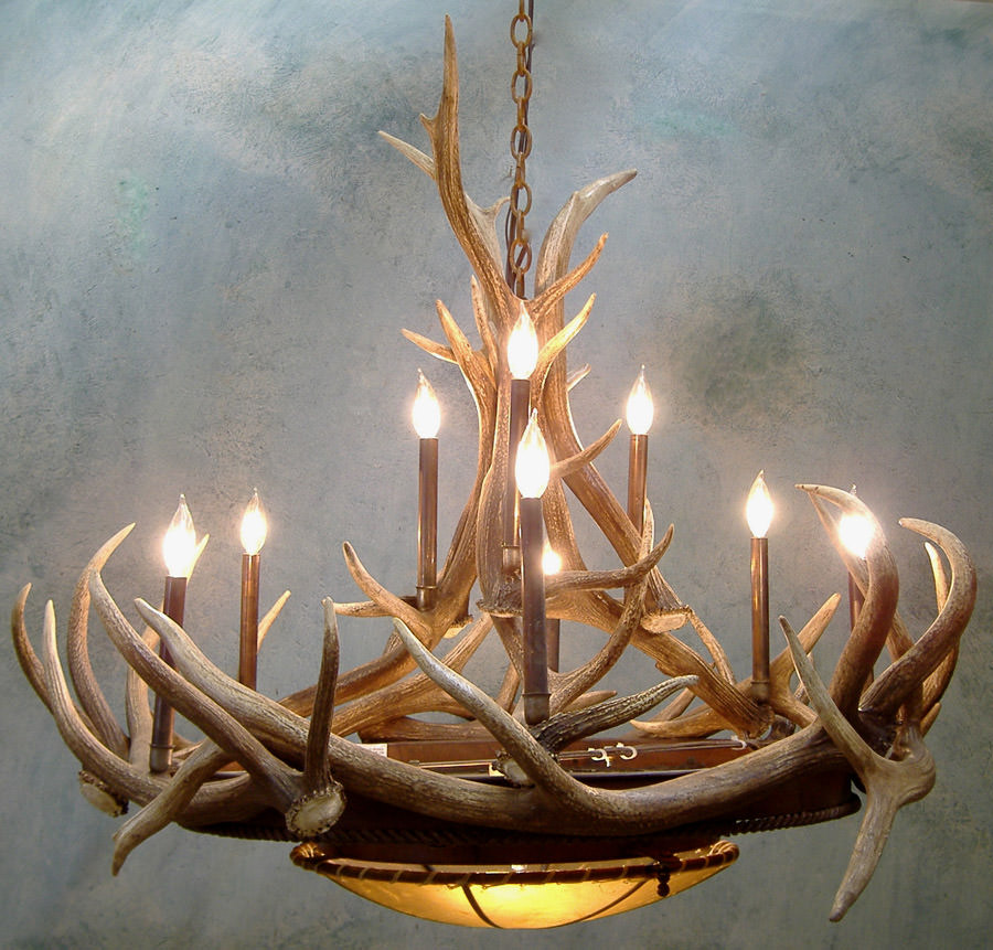 "Elk Horn Chandelier 48"" with Candelabra"