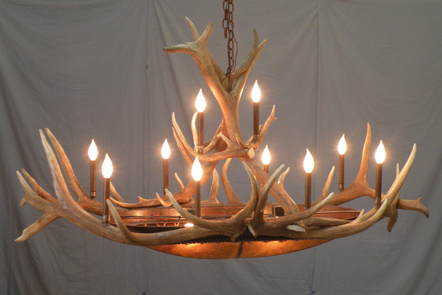 Elk Horn Oval Chandelier With Candelabras
