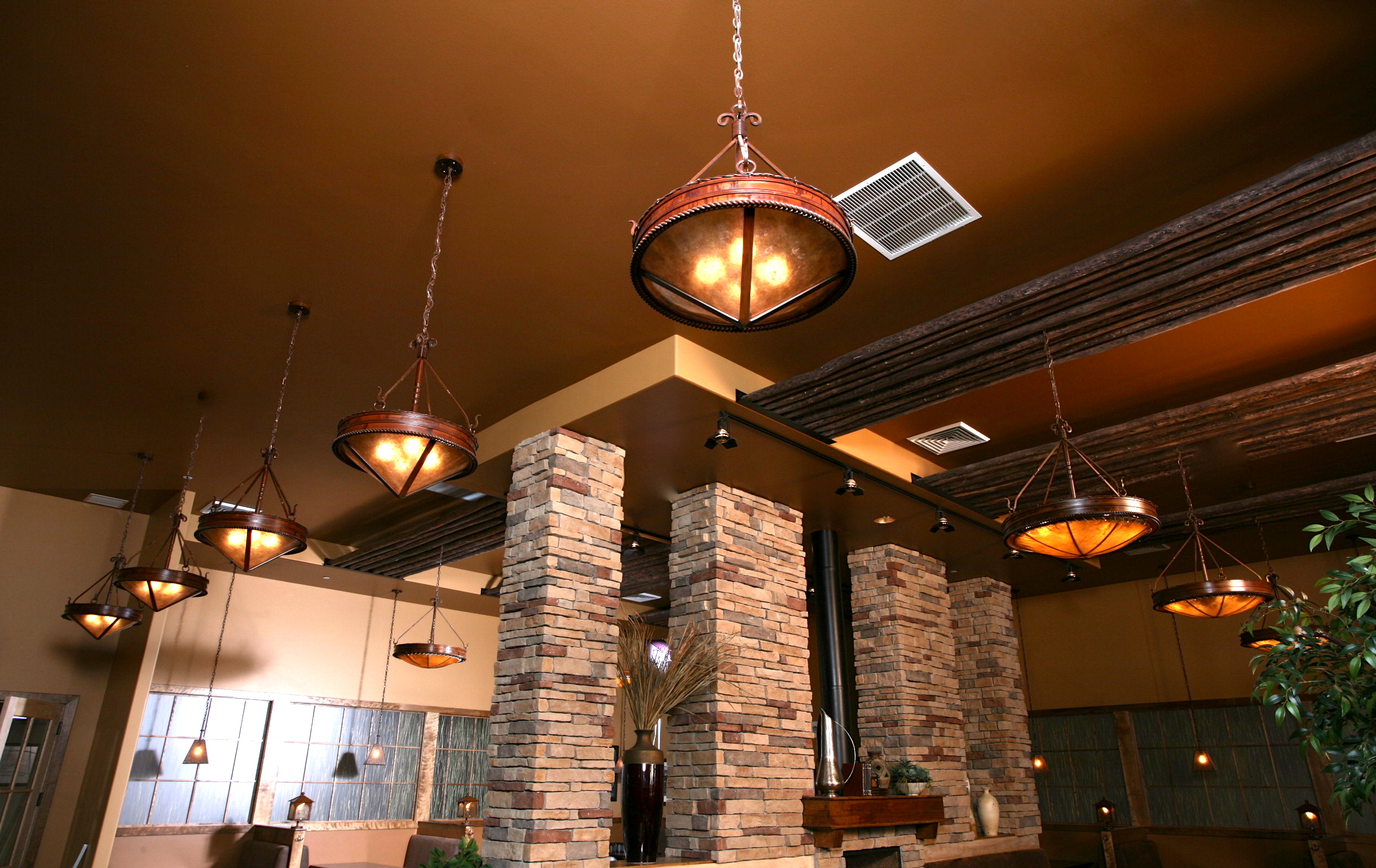 Fire Rock Chandelier With Mica Dome Frontier Iron Works