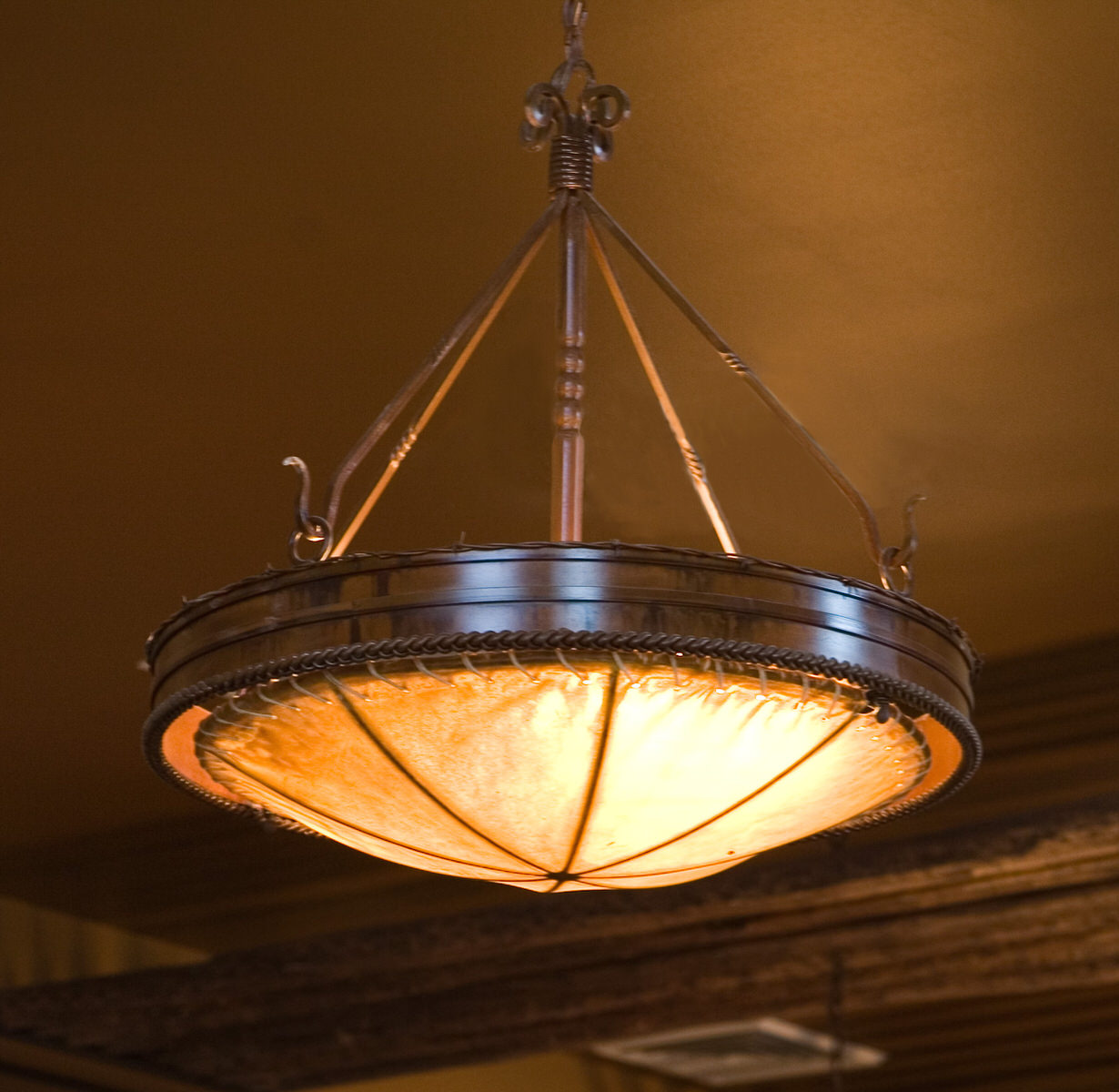 Fire Rock Chandelier With Rawhide Dome
