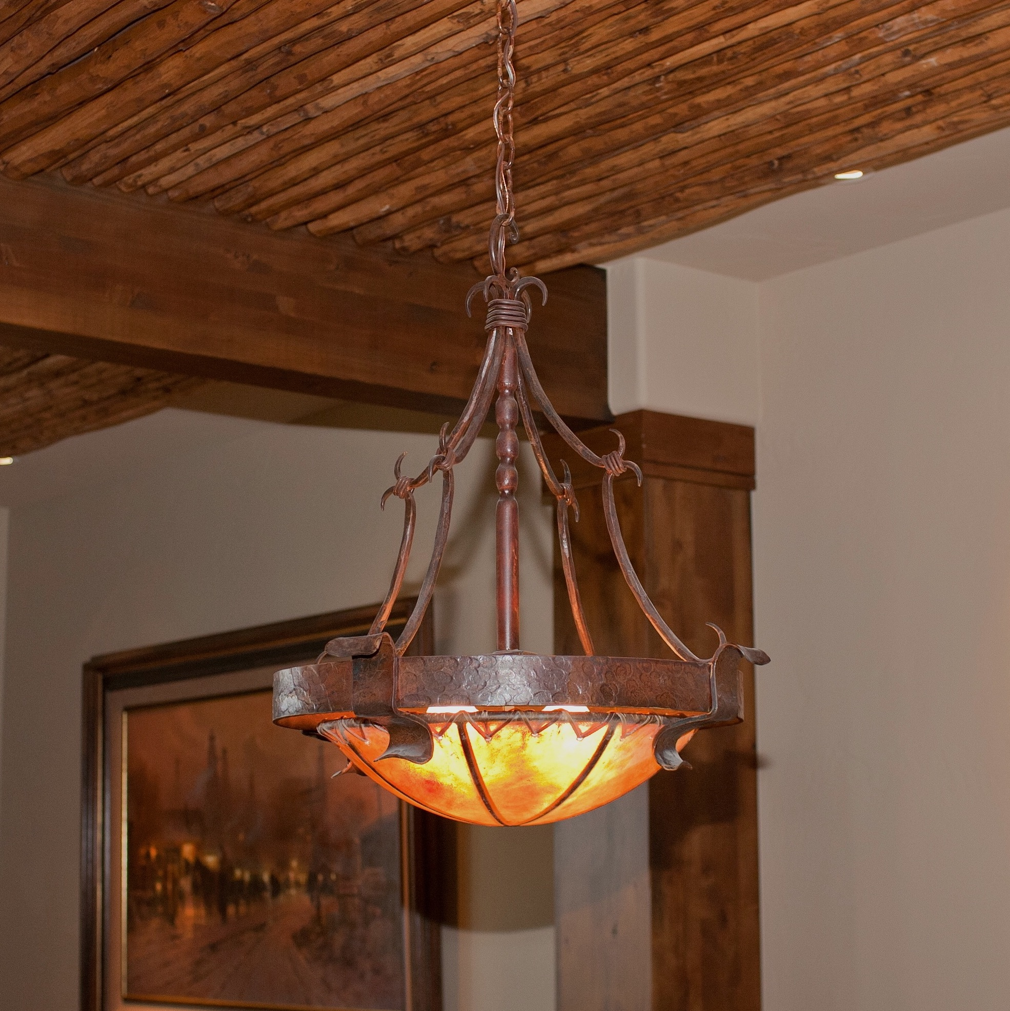 Imperial Hammered Classic Chandelier With Rawhide Dome