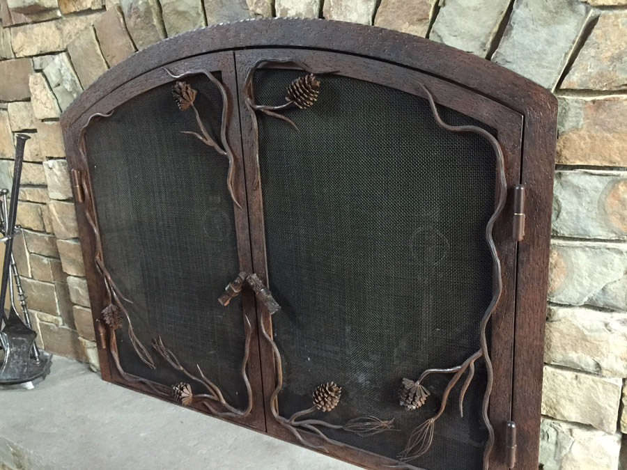 Pine Cone Fireplace Screen