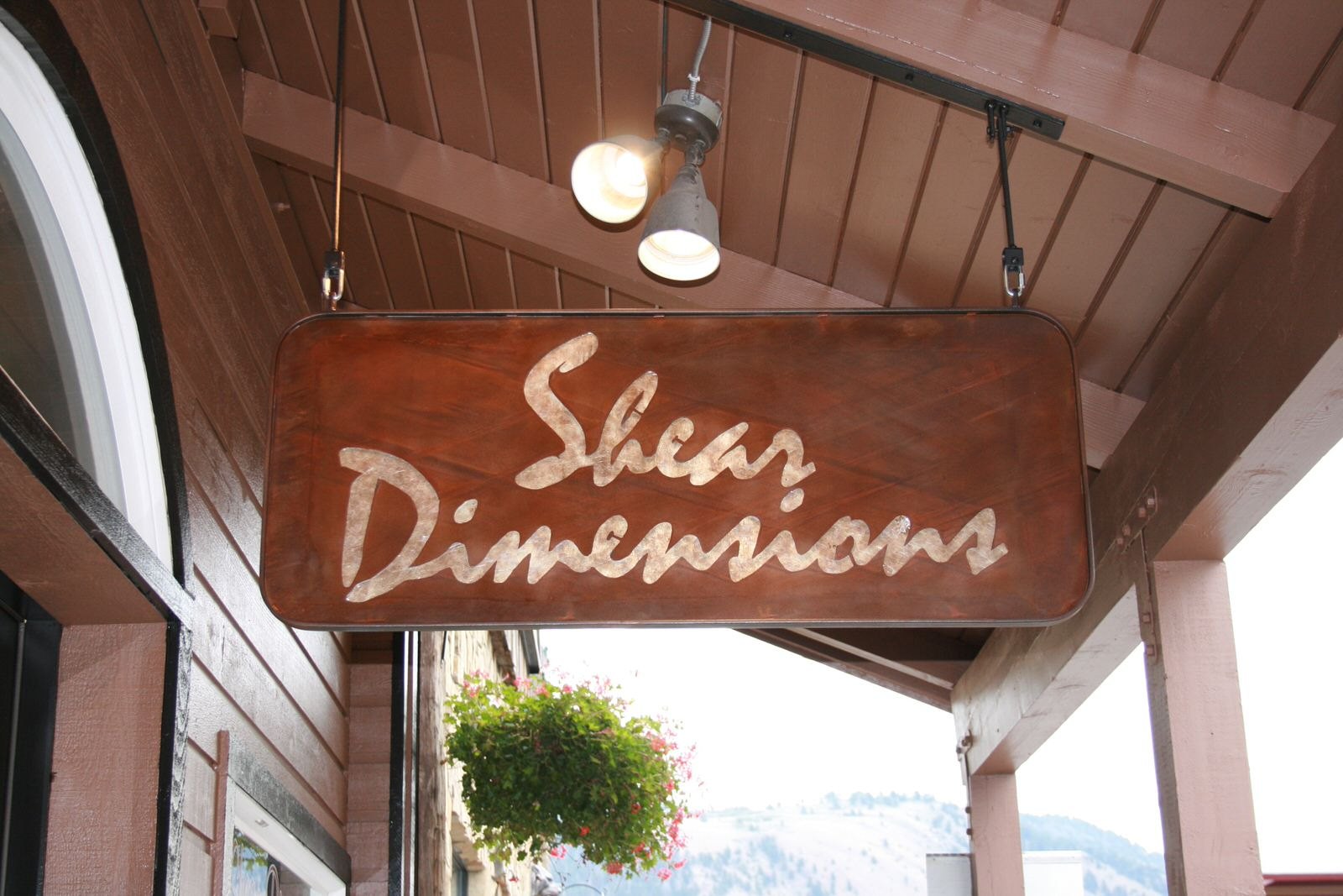 Sheer Dimensions Hanging Sign