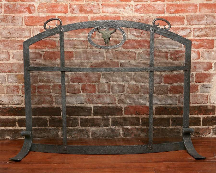 Steer Head Fireplace Screen